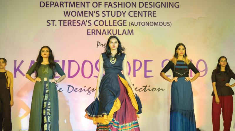 Kaleidoscope 2019, the graduation show of the Fashion Designing students, saw students from the college walking the runway for their friends who designed the collection in different themes.