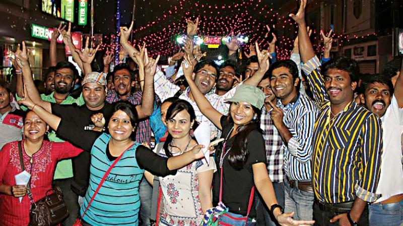 A file photo of New Year's Eve celebrations on Brigade Road