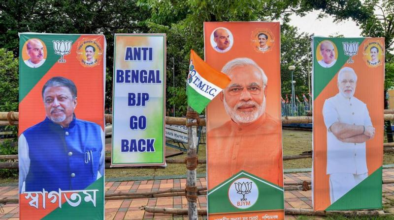 West Bengal wing of the BJP alleged that the placards with messages – 'BJP, leave Bengal' and 'anti-Bengal BJP go back' – were put up by the ruling Trinamool Congress led by Mamata Banerjee. (Photo: PTI)