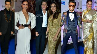 Bollywood stars came out in their most stylish attires at a awards show held by a leading magazine in Mumbai on Sunday. (Photo: Viral Bhayani)