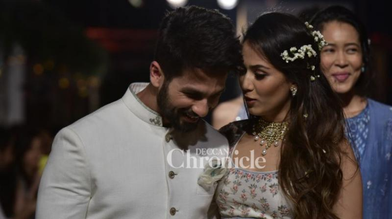 Shahid Kapoor with his wife Mira Rajput.