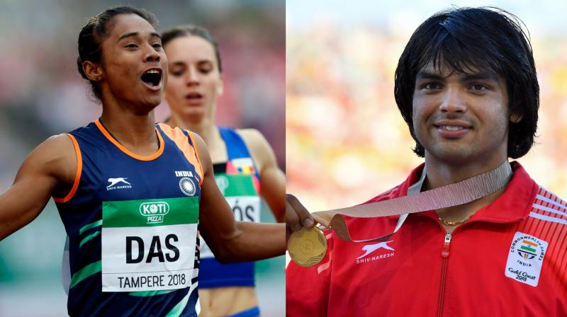 Javelin thrower Neeraj Chopra's obsessive pursuit of excellence and a new-found sprint sensation in Hima Das gave Indian athletics audacious Olympic hopes. (Photo: AP / AFP)