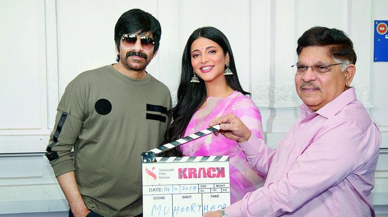 Ravi Teja, Shruti Haasan and Allu Arvind at the film's launch