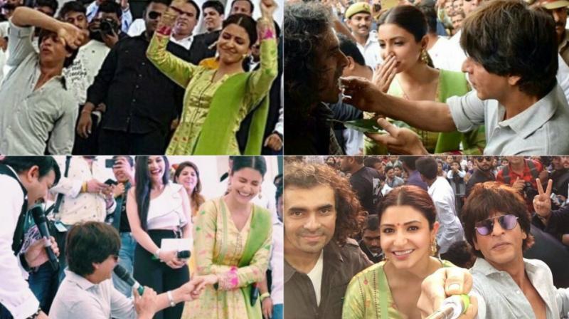 Shah Rukh Khan, Anushka Sharma and Imtiaz Ali had an enjoyable time promoting their film 'Jab Harry Met Sejal' in Varanasi on Monday. (Photos: Twitter)