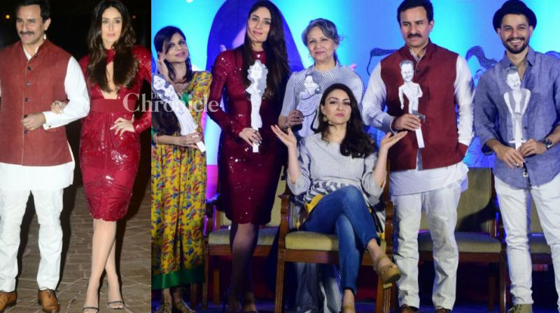 The members of the Pataudi family came together to launch the book of Soha Ali Khan in Mumbai on Tuesday. (Photo: Viral Bhayani)