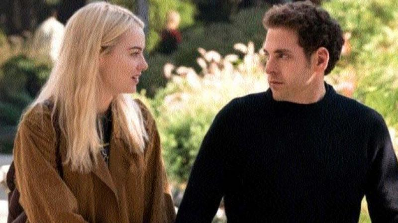 Emma Stone and Jonah Hill in a scene from Maniac