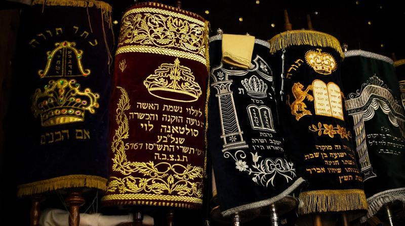 The Torah scrolls in the ark of Em Habonim Synagogue of Casablanca, Morocco. (Photo: AP)