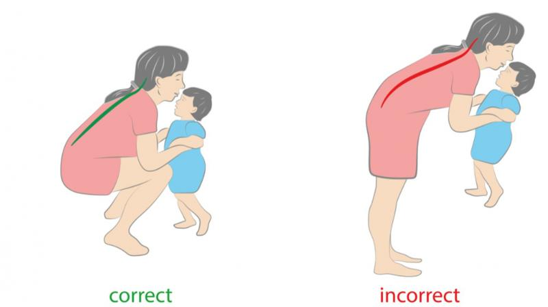 Maintaining correct body mechanisms involves bending down from the knee while lifting the child and lifting the baby up to the breast to avoid bending or hunching. (Photo: QI Spine Clinic)