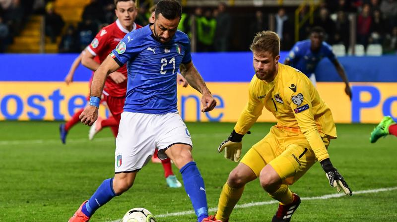 Italy moved into sole lead of Group J, two points ahead of Greece and Bosnia and Herzegovina, which drew 2-2. (Photo: AFP)