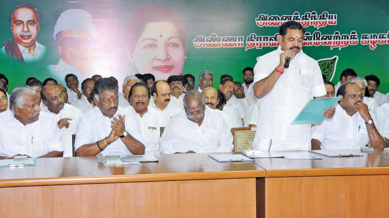 AIADMK co-convener and CM Edappadi K. Palaniswami addressing the meeting on party's enrolment drive at AIADMk headquarters on Thursday. 	—DC