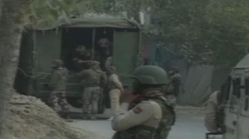 The encounter between security forces and militants in Hajin area of north Kashmir's district is underway. (Photo: Twitter | ANI)
