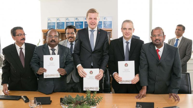 The Kochi corporation delegation with Vilnius officials after signing an MoU at Vilnius, Lithuania