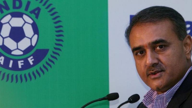 AIFF president Praful Patel addressing the media. (Photo: PTI)