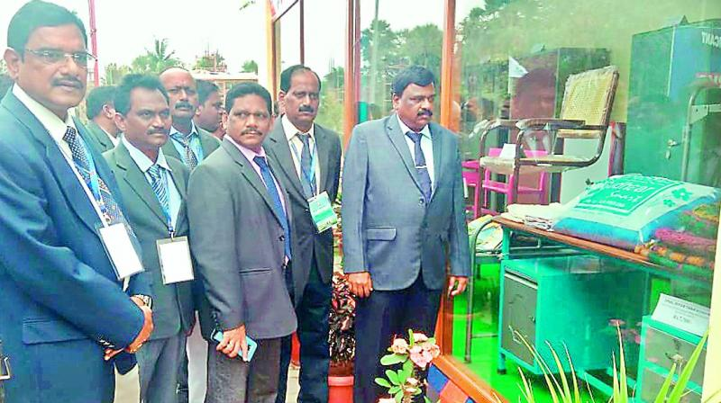 Prisons IG G. Jayavardhan takes a look at the products made by prisoners, during his visit to Rajahmundry Central Prison on Wednesday. — DC