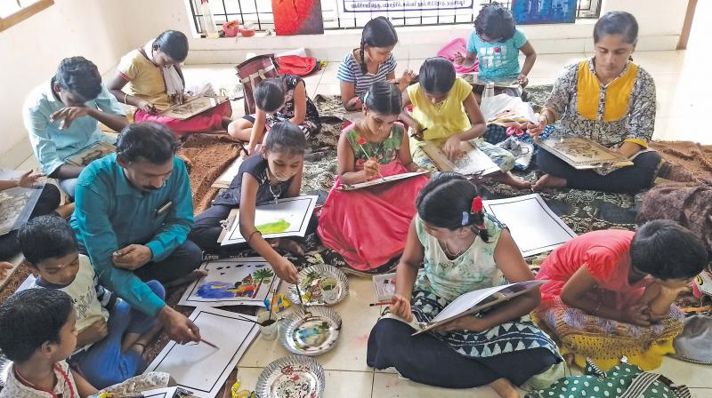 Students attending a drawing summer camp at Thanjavur. (DC)