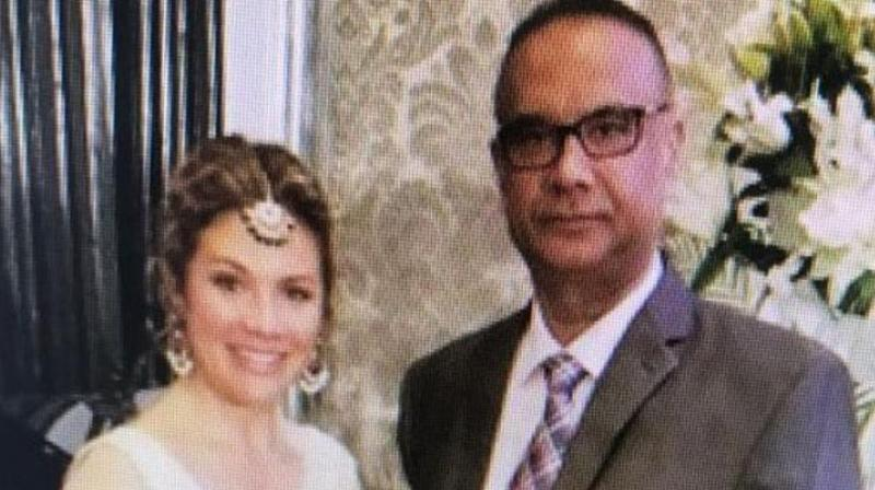 Jaspal Atwal, a convicted Khalistani terrorist, photographed with Canadian PM Justin Trudeau's wife Sophie Trudeau at an event in Mumbai on February 20. (Photo: ANI)