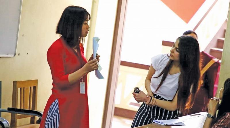 Aishwarya Kalpathi (R) during a workshop at Madras Christian College.