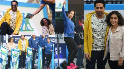 Malaika Arora Khan, Ayushmann Khurrana and Sanya Malhotra attended a fitness-based event in New Delhi on Sunday. (Photo: Viral Bhayani)