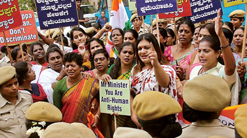 Congress Mahila Morcha members protest against minister K.S. Eshwarappa's statement on transgenders, in Bengaluru on Friday. (Photo: KPN)