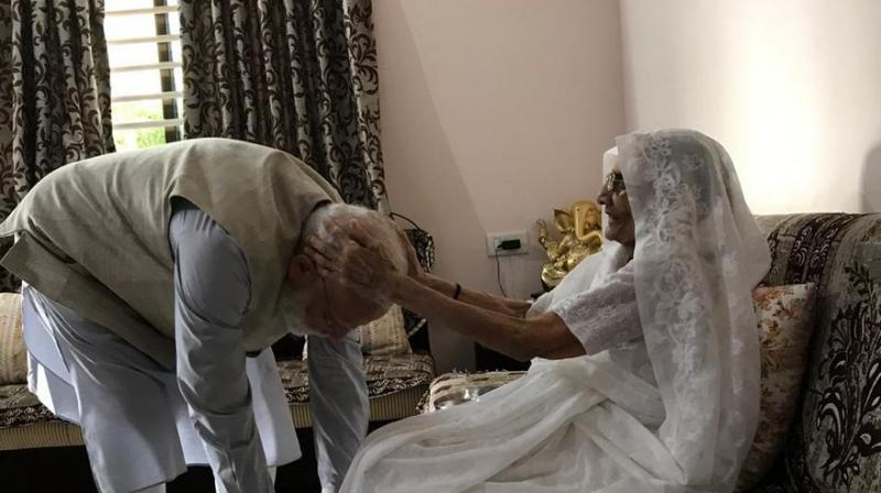 Prime Minister Narendra Modi will be in Gujarat on Sunday evening to seek the blessings of his mother after his BJP-led NDA returned to power with a massive majority in the Lok Sabha elections. (Photo: File)