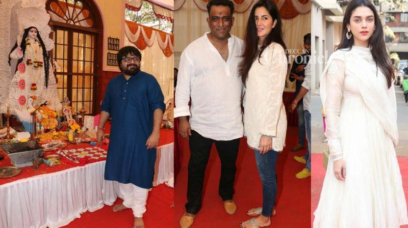 Katrina Kaif, Aditi Rao Hydari and other stars were seen at the Saraswati Pooja organised by Anurag Basu on the occasion of Vasant Panchami. (Photo: Viral Bhayani)