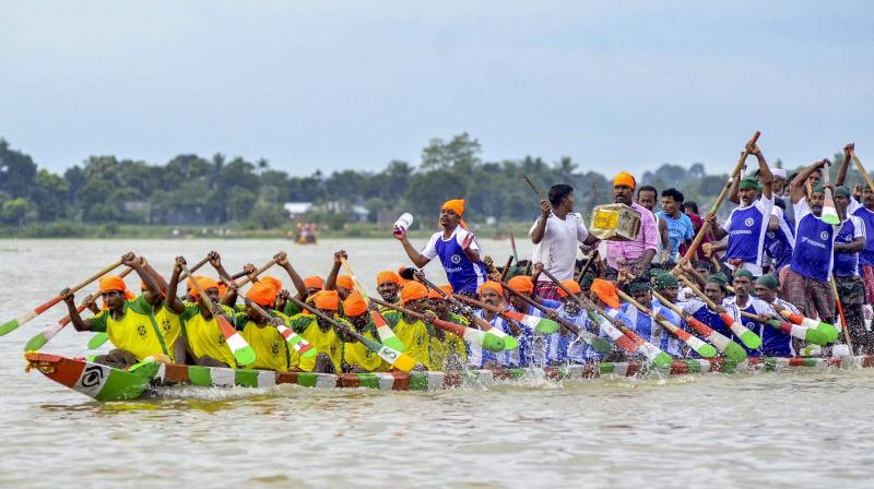 Local fishermen participate in the race. (Photo: PTI)