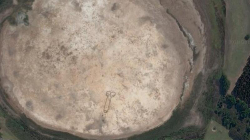 The massive drawing of a penis near Geelong, Australia, has been carved into a dry lake bed. (Google Maps)
