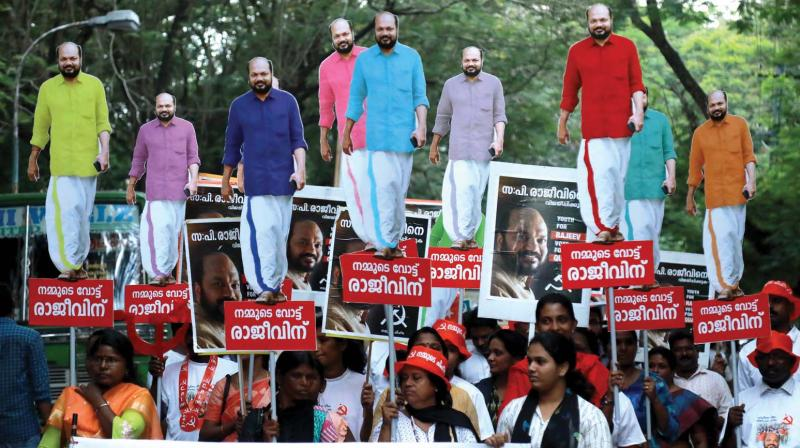 Classmates and alumni take out a road show in support for P. Rajeev, LDF candidate in Ernakulam, in Kochi on Saturday.  (Image: ARUN CHANDRABOSE)