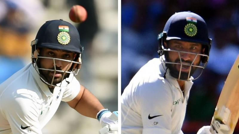 Test specialist Pujara got going in his first competitive match of the West Indies tour as he retired after making 100 off 187 balls from which he struck eight fours and one six. (Photo: AFP)