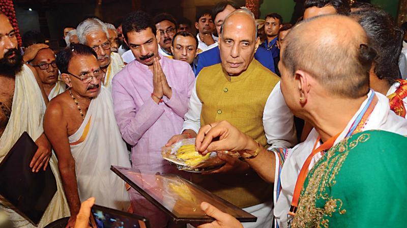 Union Home Minister Rajnath Singh at Polali Sri Raja Rajeshwari Temple in Mangaluru on Saturday. (Image DC)