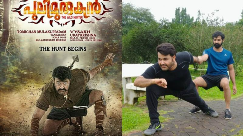 (L-R) Mohanlal in 'Pulimurugan' poster, with his son Pranav.
