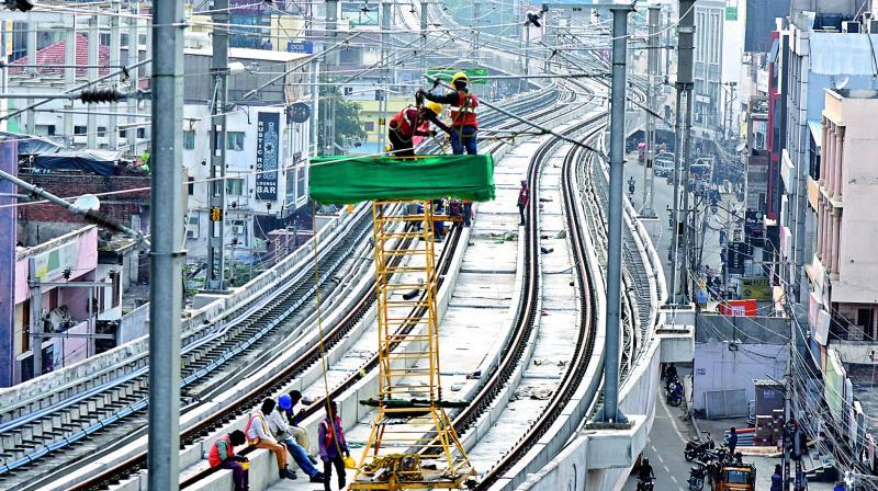 Hyderabad Metro Rail works progressing at Madhapur.  (Photos: S. Surender Reddy)