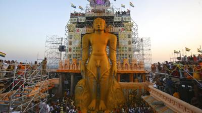 Mahamastabhisheka of Gomateswara (Lord Bahubali) has been a tradition held every 12 years since AD 981. (Photos: AP)