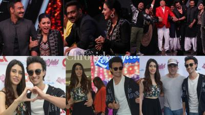 Nervous or excited? As the release dates of their films come closer, the teams of 'Helicopter Eela' and 'Loveyatri' were spotted at promotional events in Mumbai and Delhi on Tuesday. (Photos: Viral Bhayani)