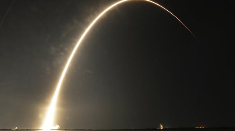 The first-stage booster previously soared in May. (Photo AP)