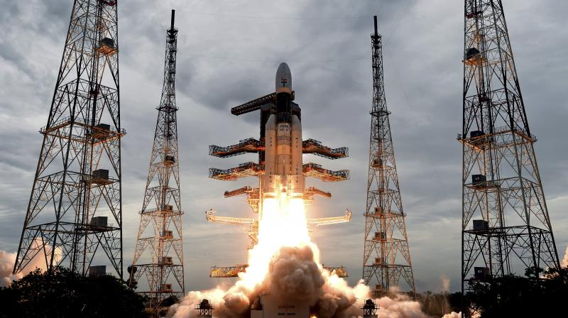 India on Monday successfully launched its second lunar mission Chandrayaan-2 on board its powerful rocket GSLV-MkIII-M1 from the spaceport in Sriharikota to explore the unchartered south pole of the celestial body by landing a rover. (Photo: AP)
