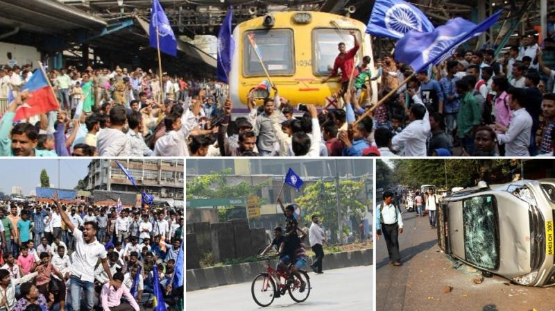 A statewide strike was called by several Dalit groups on Wednesday following the death of a 28-year-old in Pune district during an altercation between two groups while celebrating the bicentenary of a British-Peshwa war. (Photo: Rajesh Jadhav/ Shripad Naik/ Mrugesh Bandiwadekar/ Deepak Kurkunde)