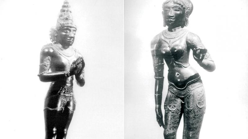 Panchaloha idols of King Raja Raja Chola and his wife Lokamadevi, which went missing from  Big Temple at Thanjavur 50 years ago.   	—DC