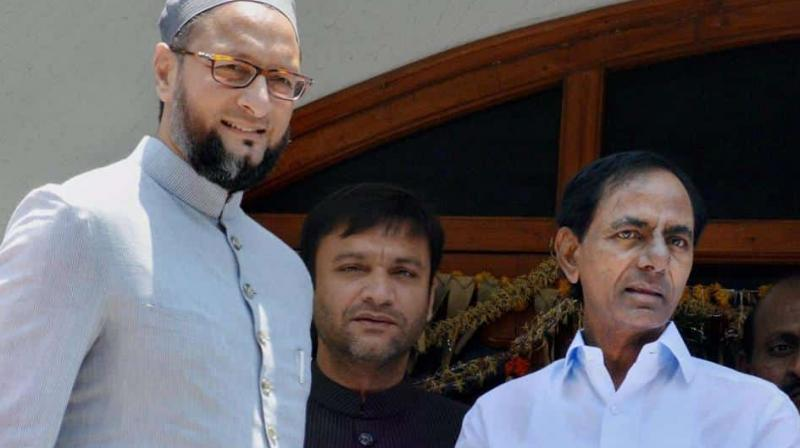 K Chandrasekhar Rao and Asaduddin Owaisi are on same page as far as bringing together regional parties and promoting a non-BJP and non-Congress federal front are concerned. (Photo: File | PTI)