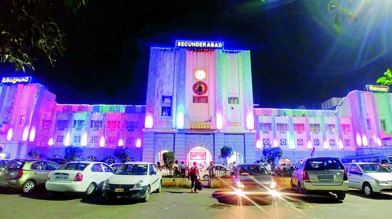 Secunderabad railway station decked-up for the festival of lights.  (Photo: DC)