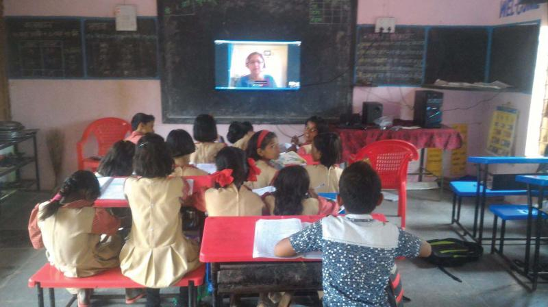 An eVidyaloka teaching session being conducted in a school in rural Bengaluru