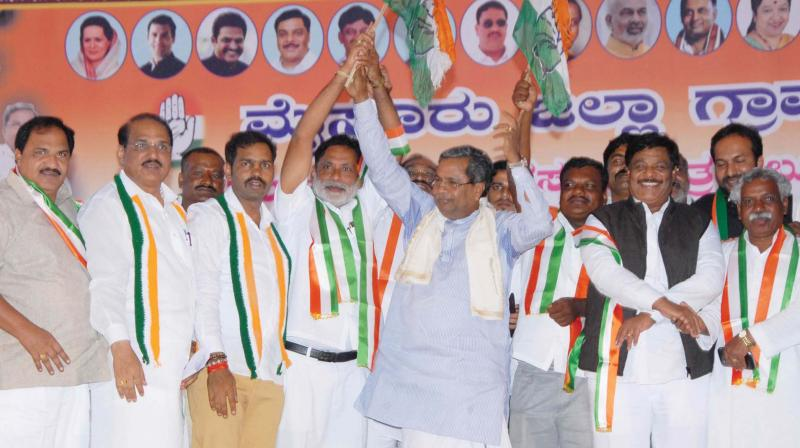 CM Siddaramaiah at the Congress workers' meet at KR Nagar near Mysuru on Sunday 	– KPN