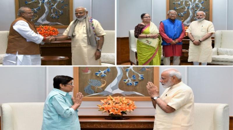 Among those who called on the Prime Minister were -- J&K Governor Satya Pal Malik and Nagaland Governor Padmanabha Acharya, besides Bedi. (Photo: ANI)
