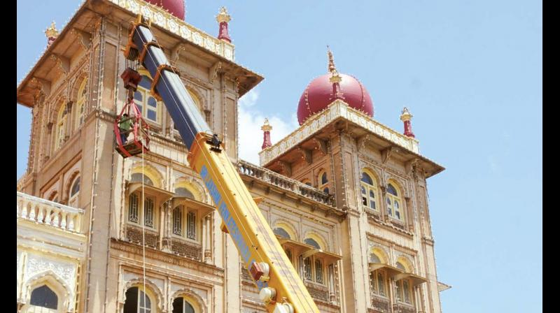 Preparations for Mysuru Dasara are in full swing at Mysuru Palace in Mysuru. (Photo:KPN)