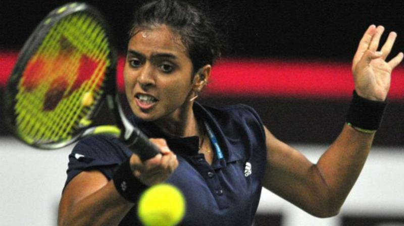 To Ankita's credit she kept herself in the match with perseverance. The India number one took some time to settle as she fended off four breakpoints in the opening game itself but dropped serve when she hit a forehand wide on the fifth. (Photo: AFP)