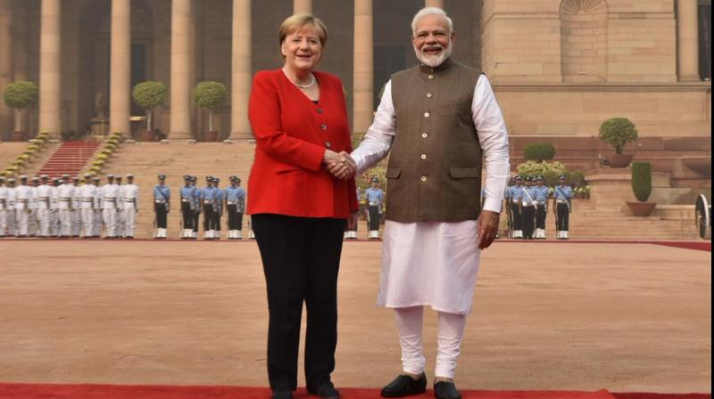 Merkel was received by Prime Minister Narendra Modi on her arrival at Rashtrapati Bhawan. (Photo: Twitter)