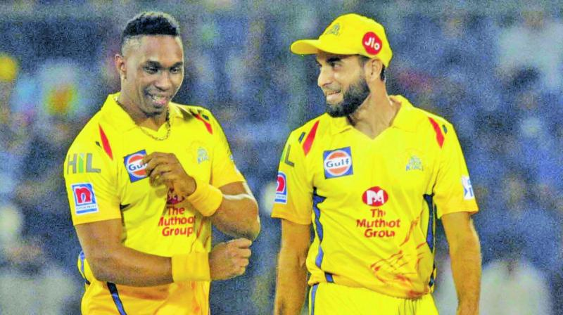 Dwayne Bravo and Imran Tahir celebrate a Delhi wicket. (Photo: Pritam Bandyopadhyay)