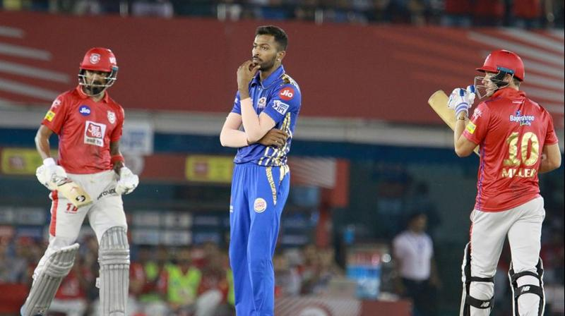 Chasing a target of 177, Punjab's openers, Chris Gayle and KL Rahul, started off well as the duo formed a 53-run partnership after which Krunal Pandya dismissed Gayle when he was just 10 short from his half-century. (Photo: BCCI)