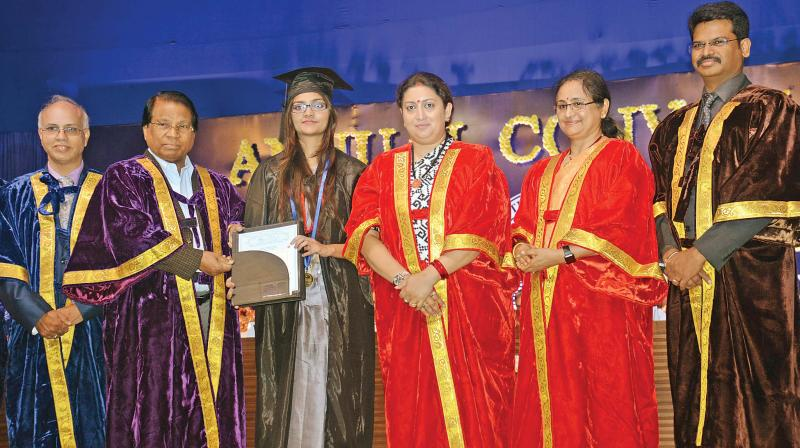Union minister for women & child development and textiles Smriti Irani at the annual convocation of VIT in Vellore on Tuesday. (Photo: DC)