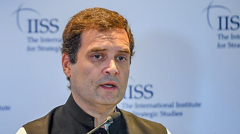 Congress President Rahul Gandhi in a panel at International Institute for Strategic Studies (IISS), in London on Friday. (Photo: PTI)